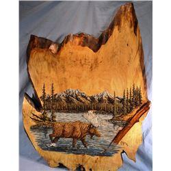 """Waddoups, R. Wayne, Moose In Lake, wood carving/ etching, 32"""" h x 42"""" w"""