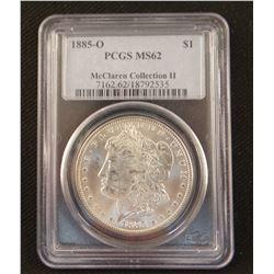 2 Morgan dollars: 1885 O, PCGS 62 and 1885 O, PCGS MS 63
