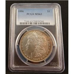 2 Morgan dollars: 1886 P,  PCGS MS 63 and 1886 P, PCI MS 62