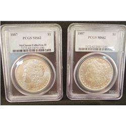 3 Morgan dollars: 2 x 1887 Morgan dollar, both PCGS MS 62;  1887 S  NGC AU 58