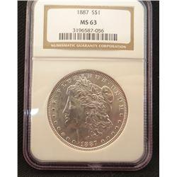 2 Morgan dollars: 1887, NGC MS 63 and 1888, PCI MS65