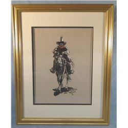 "John Moyers, CAA, watercolor on paper, Cowboy Horseback, 10"" x 13"""