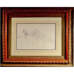 "Shope, Irwin ""Shorty"", original pencil sketch, 8"" x 12"", framed"