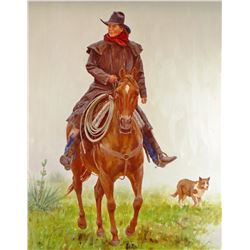"Enech, Dwayne, Cowgirl, horse & dog, 24""  h x 20"" w, oil on board"