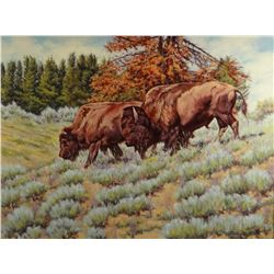 "Melton, Steve, Two buffalo, oil, 18"" h x 24"" w"