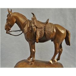 "Powell, Ace bronze saddle horse, ""Pud Actong"", 35/35, 8"" h x 7"" w"