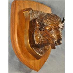 "Hodges, Dave bronze Buffalo, wall hanger, 32/100, 2.5"" h x 10"" l x 3"" w"