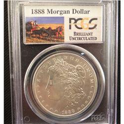 2 Morgan dollars: 1888, PCGS BU and 1888 O, ANACS MS 63