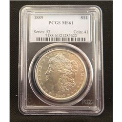 2 Morgan dollars: 1889, PCGS MS 61 and 1890 S, PCGS BU