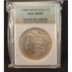 2 Morgan dollars: 1898, NCS MS 65 and 1898 O , PCGS MS 63