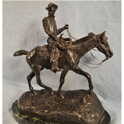 "Russell, C. M. bronze recast, Will Rogers, 11"" h x 11"" w"
