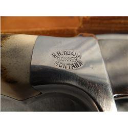 """R. H. Ruana hunting knife, 6"""" skinner w/sheath and wet stone"""