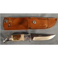 "R. H. Ruana hunting knife, 5"", stamped ""M"" w/sheath and wet stone"