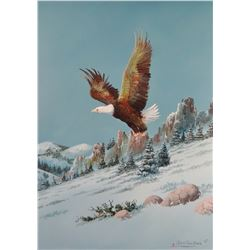 """Cuts The Rope, Clarence, oil on canvas,  Evening Flight In The Little Rockies, 1983, 18"""" x 24"""""""