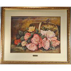 """Flesch, Joanne, """"Grandma's Garden"""", mixed media, 19"""" h x 25""""w,"""