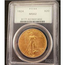 1924 $20 Gold St. Gaudens, PCGS MS 62
