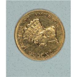 1878 $3 Gold Indian Princess AU. Rare coin.
