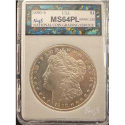1890 S Morgan dollar, NCGS 64PL, great coin!
