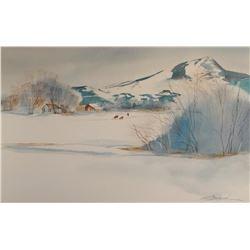 "Spurgeon, Carol, ""Winter On The Farm"", watercolor, 14"" h x 21"" w"