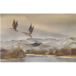 """Spurgeon, Carol, """"Geese Over The River"""", watercolor, 14"""" h x 22"""" w"""