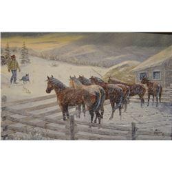 """Dahlen, Oris, """"Breakfast Time"""", oil on canvas, 12"""" h x 24"""" w"""