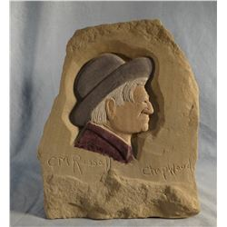 "Chopwood,  Hank sandstone carving, C. M. Russell profile, 9"" w  x 10"" h"