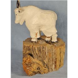 "J. L. Clarke wood carved mountain goat, unmarked, 5"" h x 4"" w, bought in 1955 at Clarke's studio in"