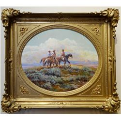 "Cheek, C. R. oil on canvas, 3 Cowboys Riding The Plains, 20"" h x 24"" w, gilted ornate frame. This is"