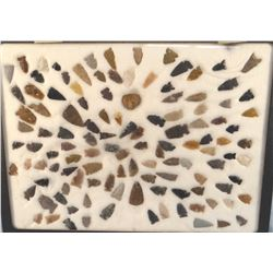 Tray of arrowheads/points, 117 pcs., all Montana and 1 trade bead