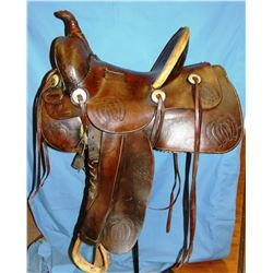"Miles City Saddlery ""Good Luck"" saddle, #90, 14"", square skirts, loop seat, great color and conditio"