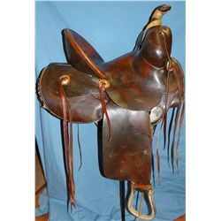 "Western Saddle, Denver, 14"", professionally restored, good markings"