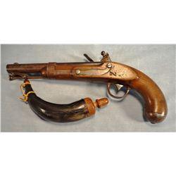 R. Johnson Model 1836 original flint lock pistol, .58 caliber, stamped US, swivel-type ram rod, sn 1