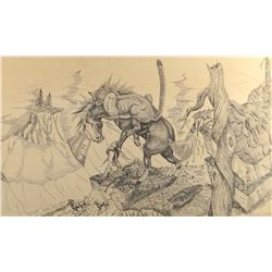 "Cuts The Rope, Frank, pen & ink, Mountain Lion Attacking The Stallion, 1968, 12"" x 20"", framed in ba"