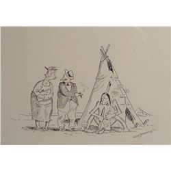 "Standing, Wm., original pen/ink, Chief Sun-Tan, 5"" x 7"", framed"