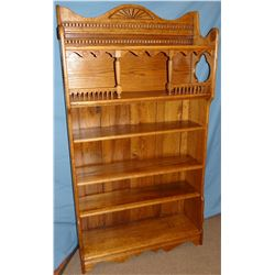 Fancy oak 5-shelf open book case