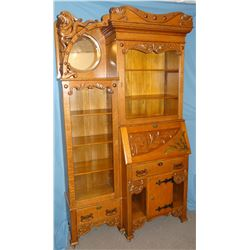 Ornate vintage oak cowboy secretary, ca 1880's, glass & hardware are original-a beautiful piece, har