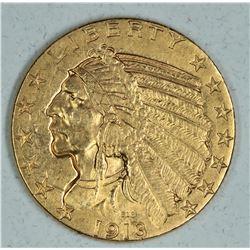 1913 $5 Gold Indian Head AU+
