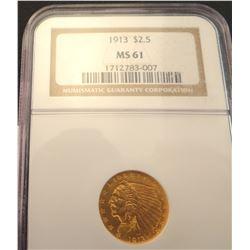 1913 $2 1/2 dollar gold indian, NGC MS 61