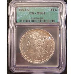2 Morgan dollars: 1904 O, ICG MS 63 and 1921, PCGS MS 63