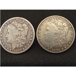2 Morgan dollars: 1880 S and 1881 S, both VF