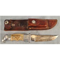 """Ruana hunting knife, 5"""" w/sheath and wet stone"""