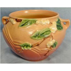 """2 pcs: Roseville Snowberry dusty rose bowl, 4"""", 1J4; Snowberry dusty rose bowl, 6"""", 1BL2"""