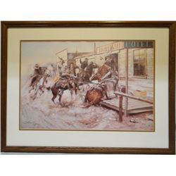 """Russell, C.M., In Without Knocking, framed print, 16"""" x 24"""""""