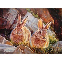 "Jeppson, Julie framed print, ""Bunnies"", 12"" h x 16"" w"