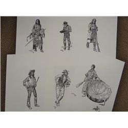 "C. M. Russell lithograph set, 15 pcs., 12"" x 17"""