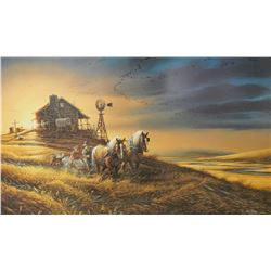 """Redlin, Terry framed print, For Amber Waves of Grain, 16"""" x 28"""", #8780/29500, 1990"""