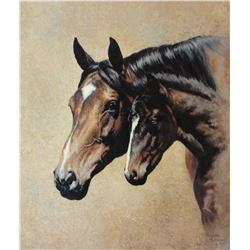 """Halvorson, Adeline framed print, Mare and Colt, 1998, 10"""" x 12"""""""
