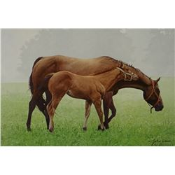 """Weiss, John framed print, Mare and Colt, 10"""" x 12"""","""
