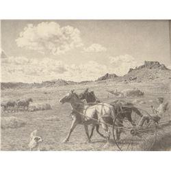 "Greytak, Don framed print, Raking Hay With Horses, 19/500, 10""x 14"","