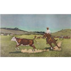 """Run Away Hereford Bull, 8"""" x 13"""", print framed"""